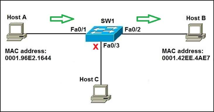 How switch forwards unicast frames